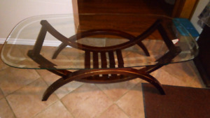 COFFEE TABLE , , HEAVY GLAS TOP,  BEVELED