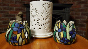 Two iris votive and white porcelain candle holder