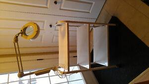 REDUCED. -Steel white 3 shelves cabinet on castors