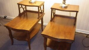 Solid wood end tables and lamps