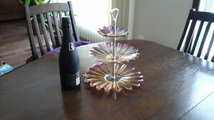 Vintage Three Tiered Pink Glass Plate RARE