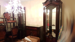 Curio Buffet Table and 6 chairs for dining room for sale.