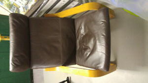 Ikea chair with leather seat cushion