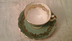 FINE BONE CHINA CUP AND SAUCER, TEXTURED SAGE, AYNSLEY