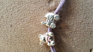 Authentic Purple Multi String Bracelet With Two Charms