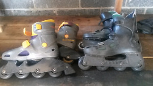 2 Pairs of ROLLERBLADES. Bauer & Discovery.