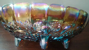 Carnival Glass footed fruit bowl
