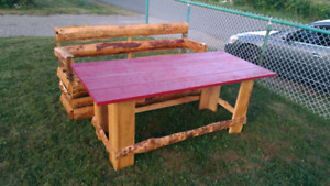 Outdoor table and bench.