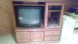Solid wood tv cabinet - free colour tv (if wanted)