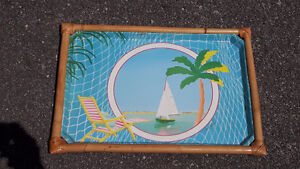 BEAUTIFUL COLOURFUL 1960's vintage tropical serving tray AMAZING