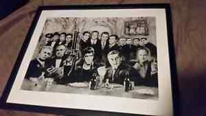 Mafia drawing in picture frame glass black