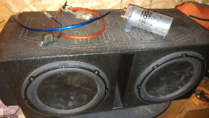 "2 12"" JL Audio 1800watt subs, amp and box"