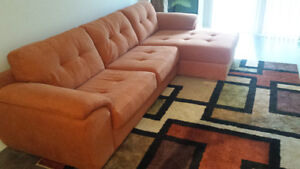 Furniture set: bed, mattress, couch, carpet, lamps, bed tables