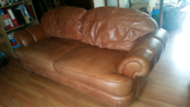 x2 leather 3 seater sofas