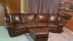Large choclate brown reclining leather sofa with Ottoman