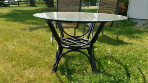 Solid Antique Rattan Table - round glass top