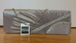 Bijoux Terner evening clutch purse grey