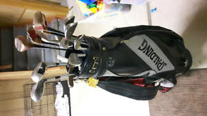Set of golf clubs and cart. NEW PRICE
