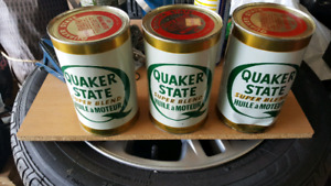 Quaker State oil cans