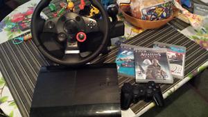 PS3 à vendre avec volant et jeux