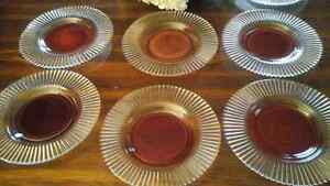 GLASS DESSERT PLATES - RUBY/CLEAR -  SET OF 6 - Sale