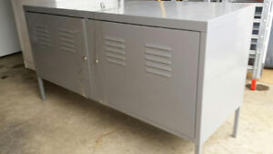 Grey Metal Storage Shelving/Entertainment Unit-$60