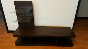 TV Stand with Glass Shelves