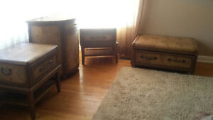 Four Piece Leather Old World Suitcase Style Furniture