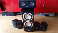5 speakers and 1 big wooden subwoofer (piano black)