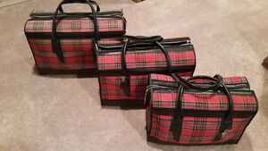 Vintage Canvas Plaid Travel Luggage Sets