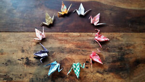 Hand folded Origami Cranes for garland, or ornaments London Ontario image 4