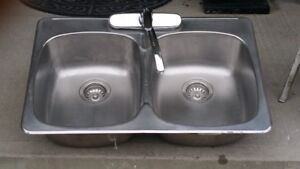 Double Stainless Steel Sink with Faucet