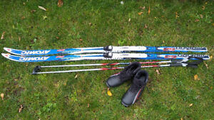 Cross country skis with boots