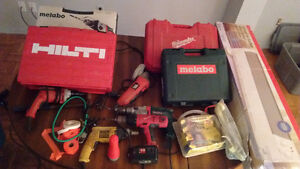 POWER TOOLS - Hammer Drills, angle grinder, safety harness
