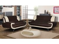NEW LEATHER 3+2 SOFAS CHROME FEET CAN DELIVER FREE