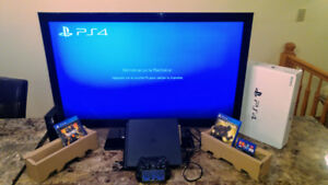 "PS4 slim 1TB like new+TV LG 42""inch full HD+games"