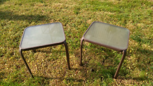 2 square glass top outdoor side tables (pickup only)