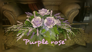 "NEW""PURPLE ROSE"" SPRING CENTERPIECE"