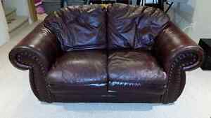 Leather Love Seat and Matching Chair