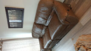 Fake leather couch- grey tan colour