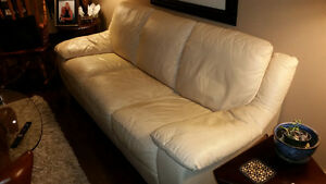 Cream coloured leather couch for sale