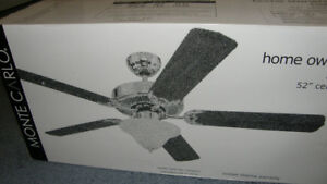 """NEW 52"""" CEILING FAN WITH LIGHT BY MONTE CARLO"""