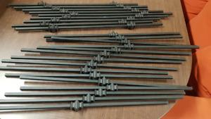 Black decorative wrought iron pickets