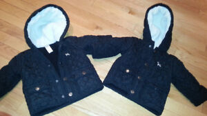 Two quilted black jackets - size 12 months