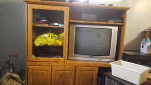 Solid wood tv cabinet with working TV