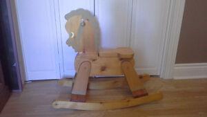 Wooden childs rocking horse