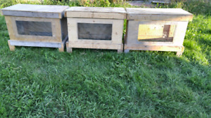 3 homemaded wire bottom rabbit cages