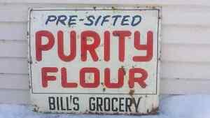 1961 Purity Flour tin sign