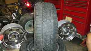4 rims 2 tires with good tread
