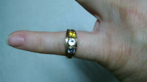 10k Gold - Diamond/Topaz/Aquamarine Ring